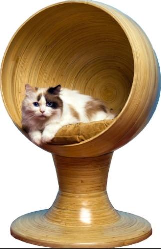 Criada para gatos que gostam de ficar nas alturas, essa cama elevada tem estrutura de bambu. Com 48 cm de raio e 63,5 cm de altura, o objeto é fabricado artesanalmente e conta com almofada lavável. O móvel é comercializado por  Wag.