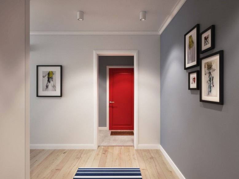Porta da entrada em vermelho e acesso. Combinações de cores relaxantes.