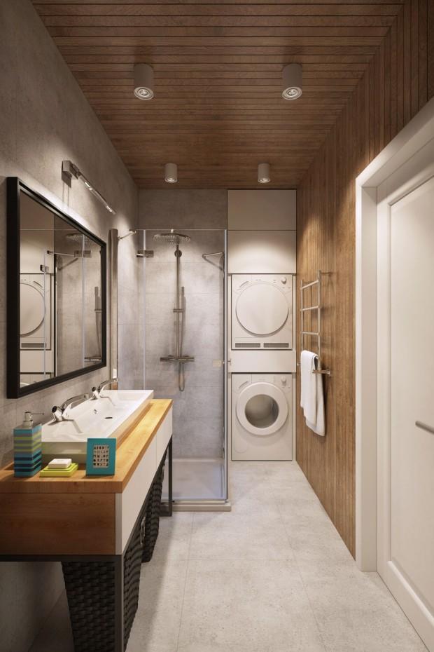 Banheiro, com a lavanderia junto.