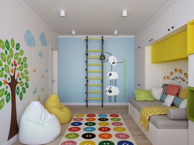 Quarto das crianças, colorido com decalques de parede de vinil