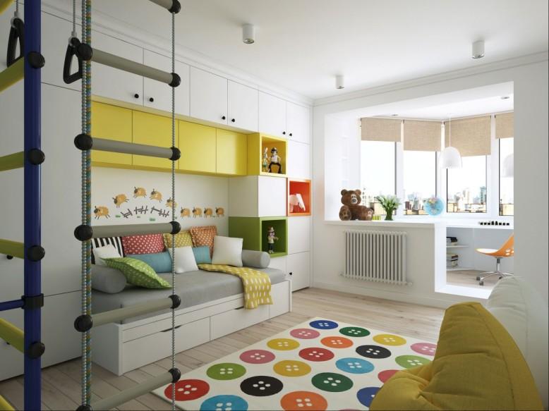 Estudo no canto do quarto das crianças é tanto espaçoso como elegante